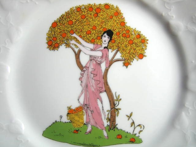 Decorative Plate - French Art Nouveau Lady Orange Tree Pink Dress Center www.DecorativeDishes.net