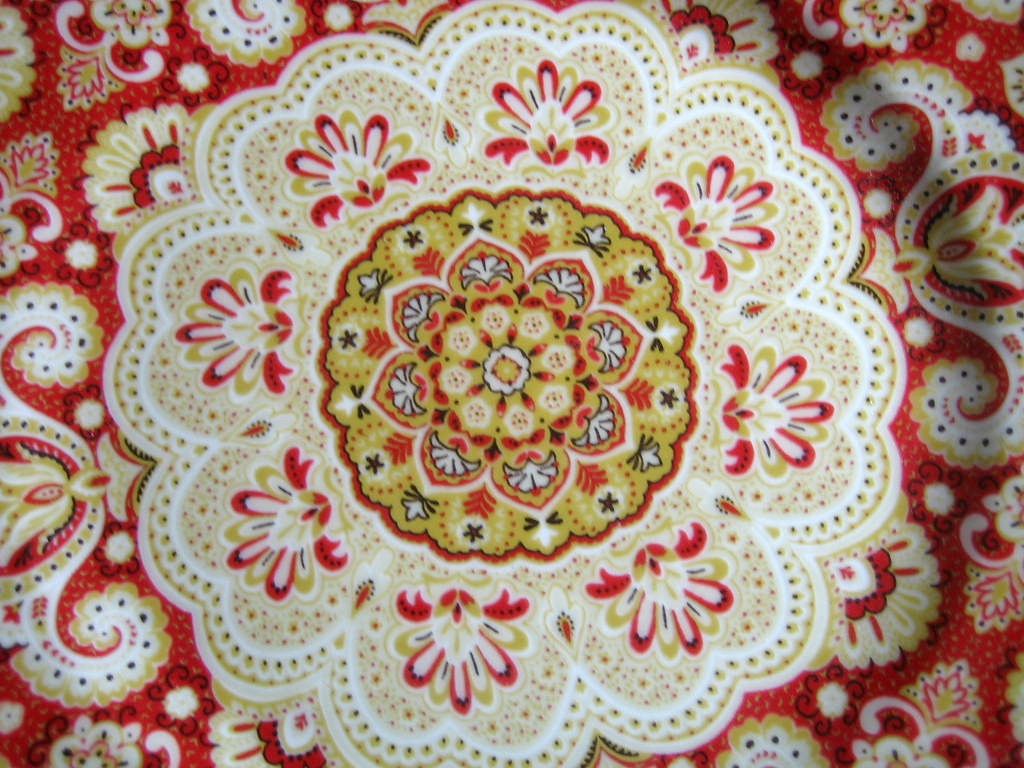 Decorative Plate - Exotic Red Gold Medallion Mehndi Paisley Medium Size Center www.DecorativeDishes.net