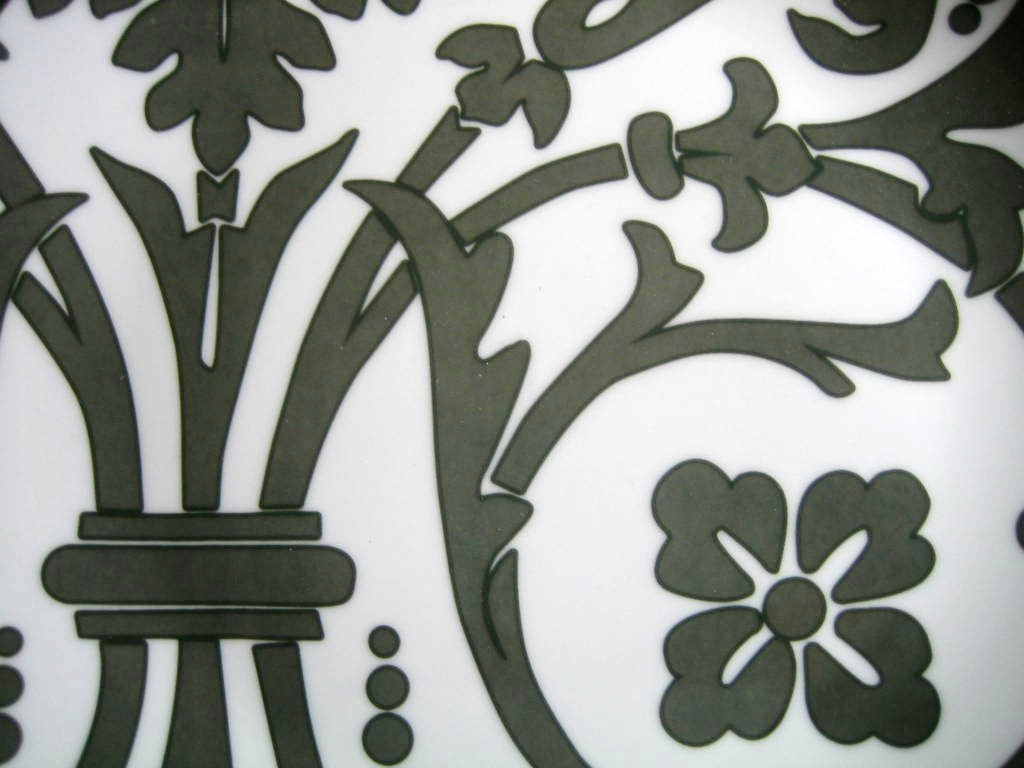 Gray on White Damask Exotic Wallpaper Scroll Decorative Plate D Center www.DecorativeDishes.net