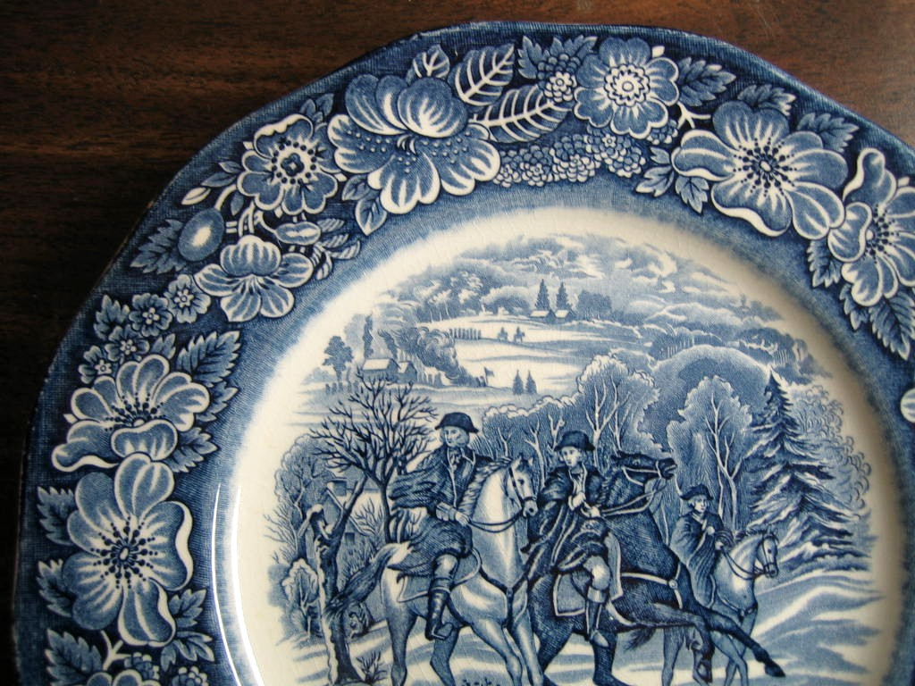 Cobalt Blue Toile Transferware Horses Snow Colonial Plate Edge www.DecorativeDishes.net