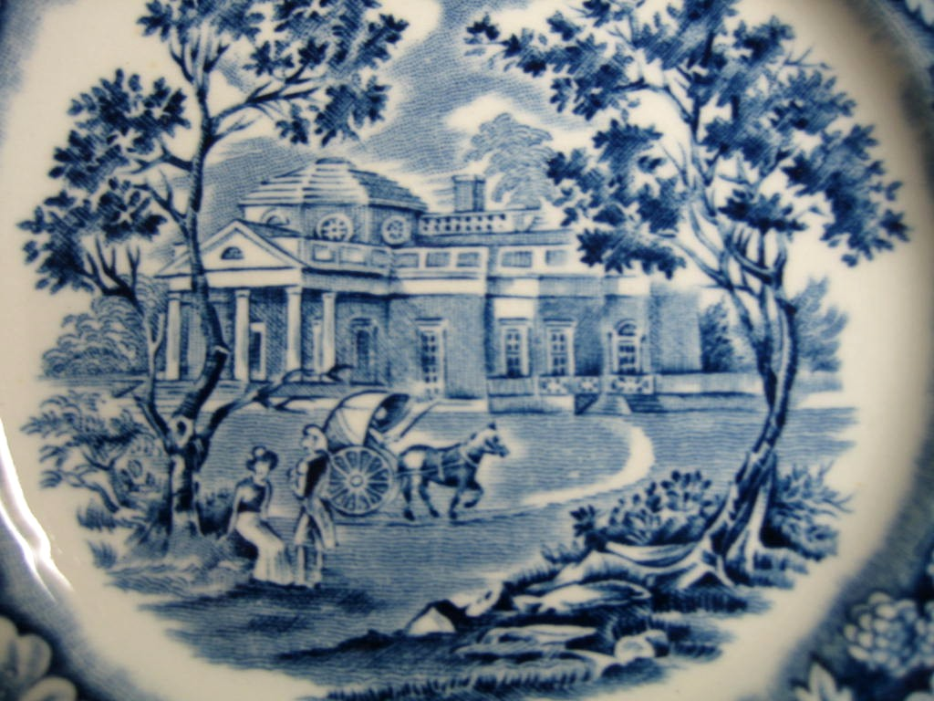 Cobalt Blue Toile Transferware Children Pony Cart Colonial Small Plate Center www.DecorativeDishes.net