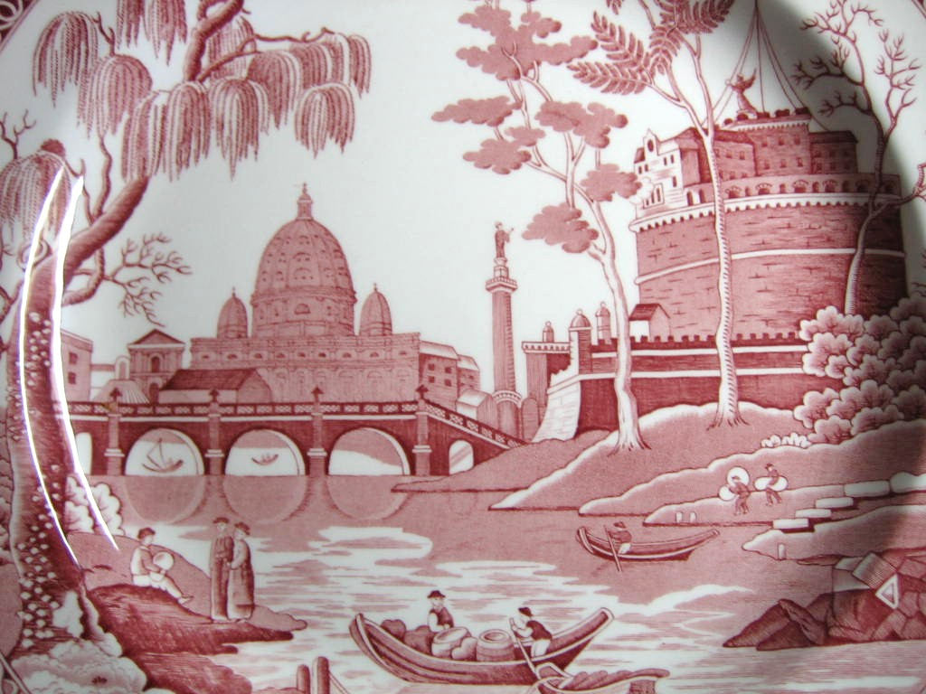 Pink Red Toile Transferware Exotic Palm River Temple Plate Center www.DecorativeDishes.net