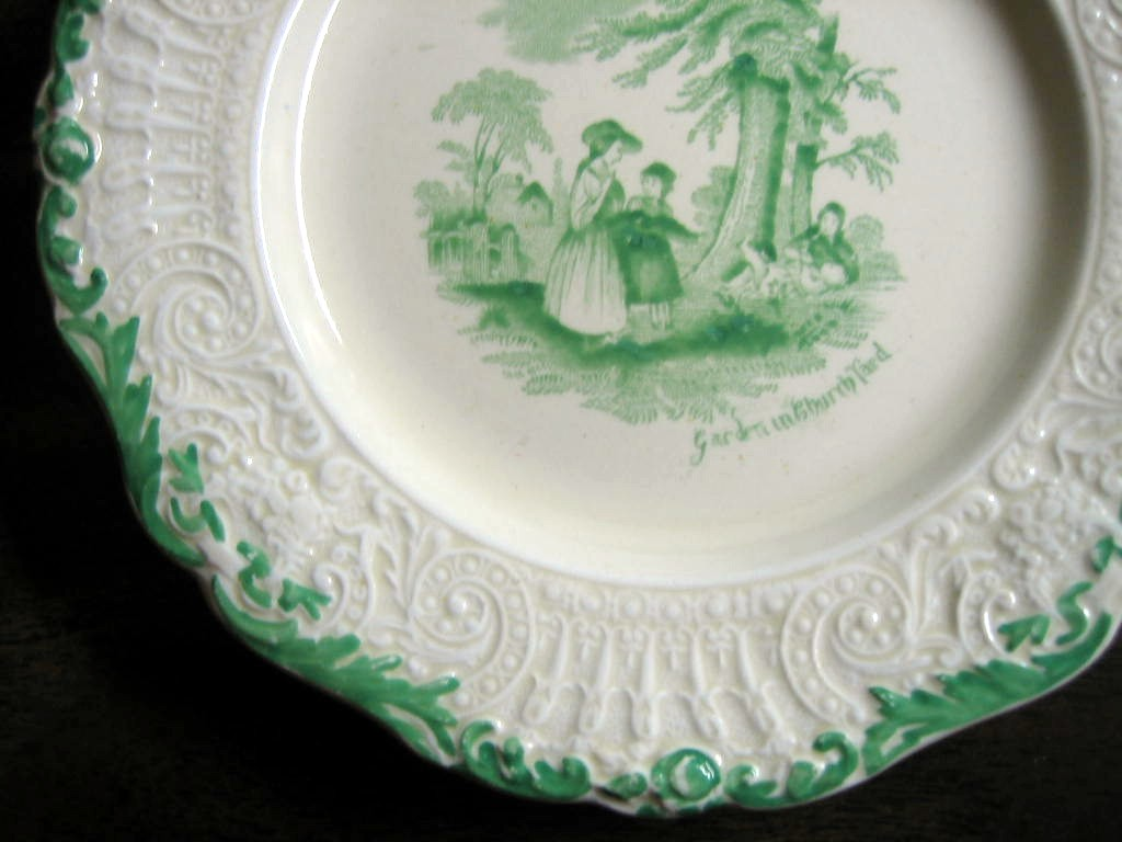 Shabby Green Cream Antique Toile Children Textured Edge Plate S Edge www.DecorativeDishes.net