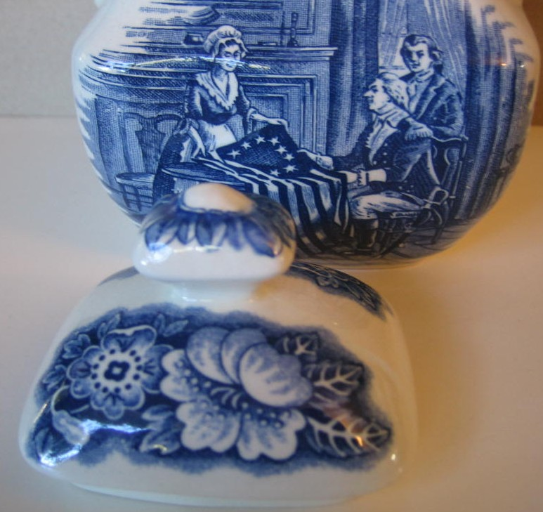 Cobalt Blue Toile Transferware Betsy Ross Small Lidded Bowl  Center www.DecorativeDishes.net