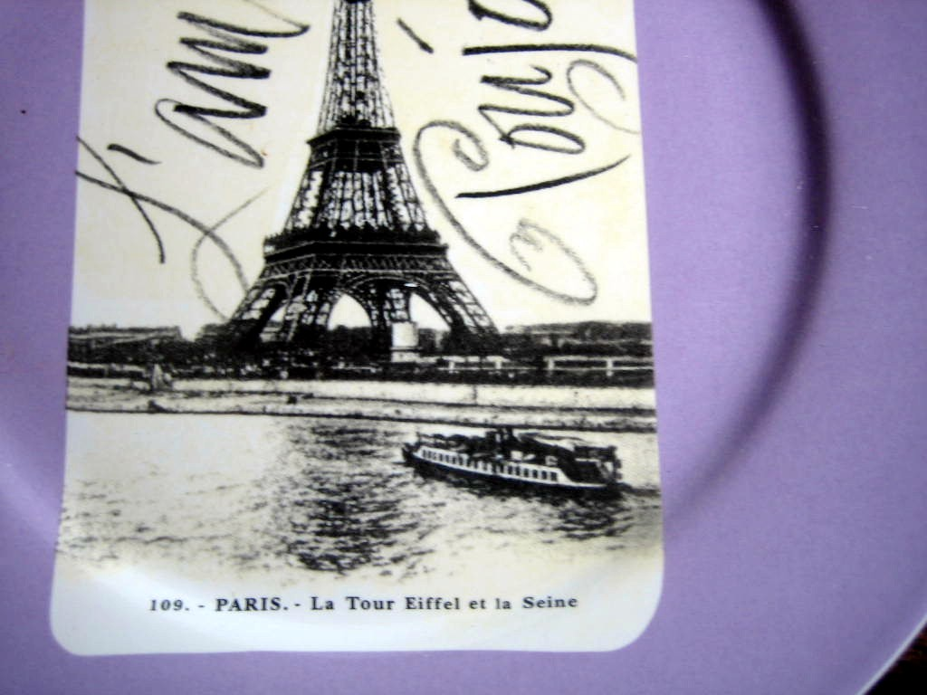 Vintage Paris Eiffel Tower Postcard Lavender Plate Script Rosanna Center www.DecorativeDishes.net
