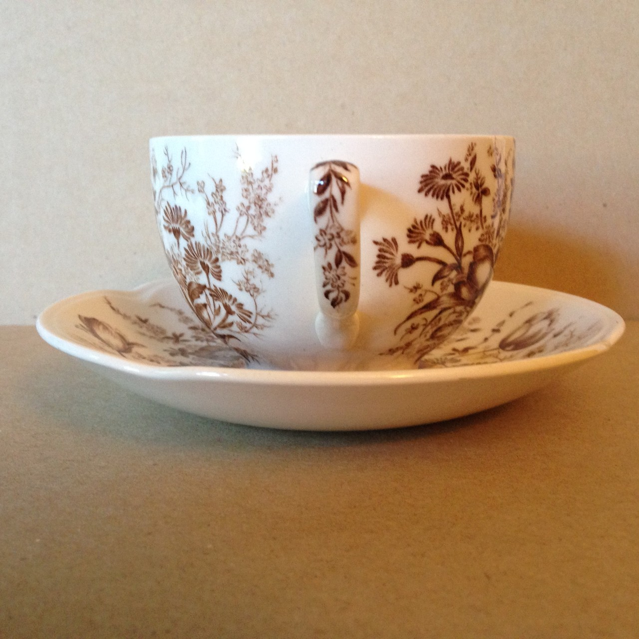 Brown Toile Transferware Tulip Vintage Cup and Saucer Edge www.DecorativeDishes.net