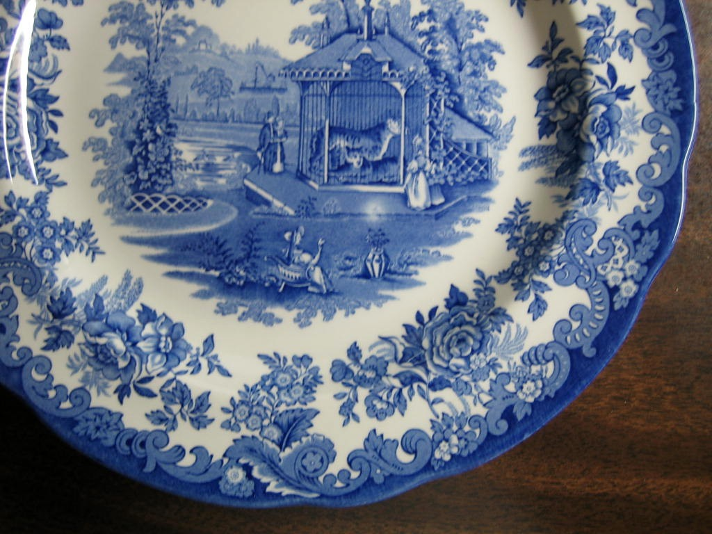 Blue White Transferware Toile Victorian Zoo Tiger Plate Edge www.DecorativeDishes.net