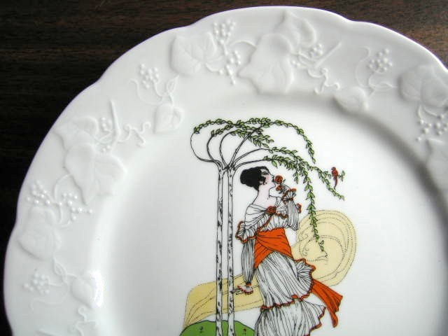 Decorative Plate - French Art Nouveau Lady Rose Orange Sash Bird Center www.DecorativeDishes.net