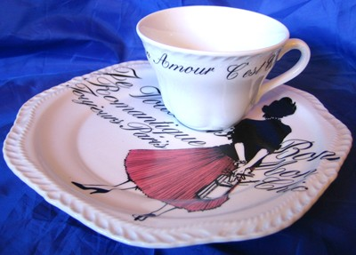 Vintage Rosanna Pink Skirt Girl Black White French Script Plate & Cup Set Edge www.DecorativeDishes.net