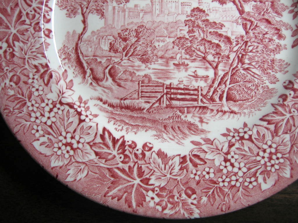 Red Pink Toile Transferware Girl Hat Bridge Berries Leaves Vintage Plate Edge www.DecorativeDishes.net