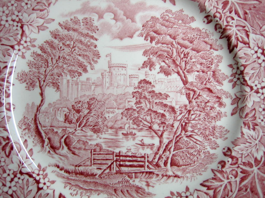 Red Pink Toile Transferware Girl Hat Bridge Berries Leaves Vintage Plate Center www.DecorativeDishes.net