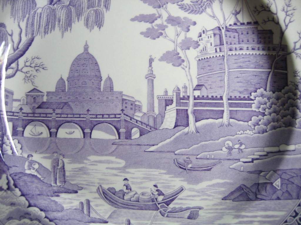 Lavender Purple Toile Transferware Exotic Palm River Temple Plate Center www.DecorativeDishes.net