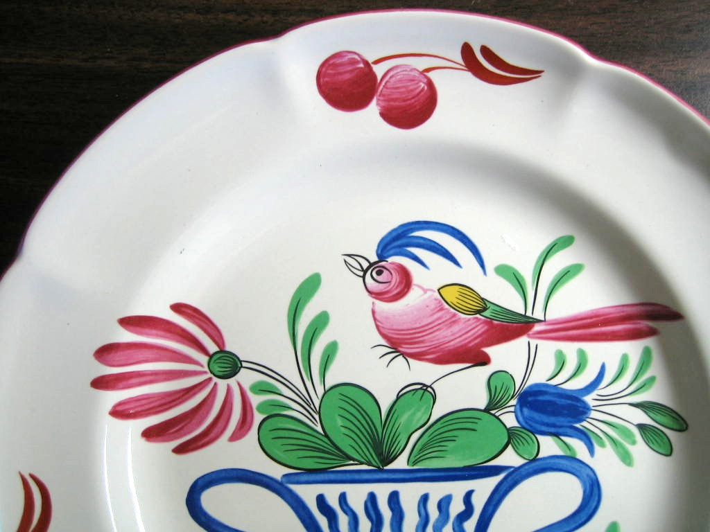 French Folk Art Pink Bird Blue Basket Cherries Edge Plate Edge www.DecorativeDishes.net