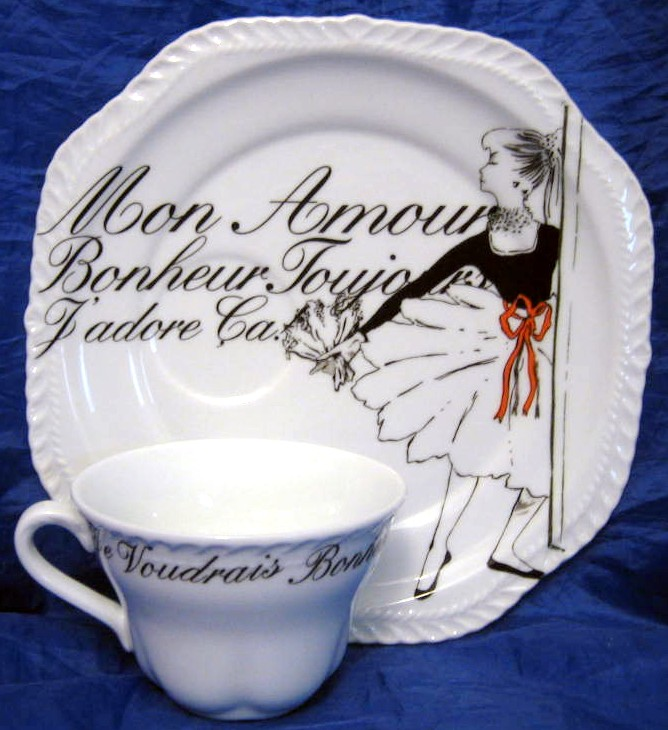 Vintage Rosanna Ballerina Black White French Script Plate & Cup Set Center www.DecorativeDishes.net