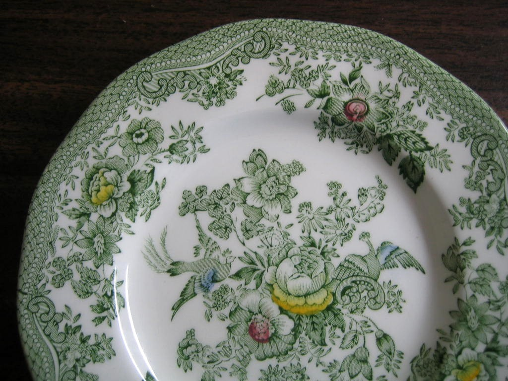 Green Toile Rose Exotic Bird Paris Chinoiserie Mini Plate
