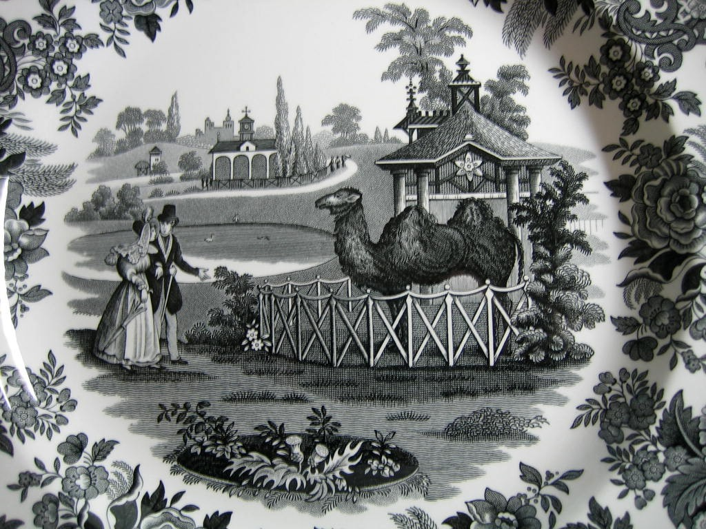 Black White Transferware Toile Victorian Couple Zoo Camel Plate Center www.DecorativeDishes.net