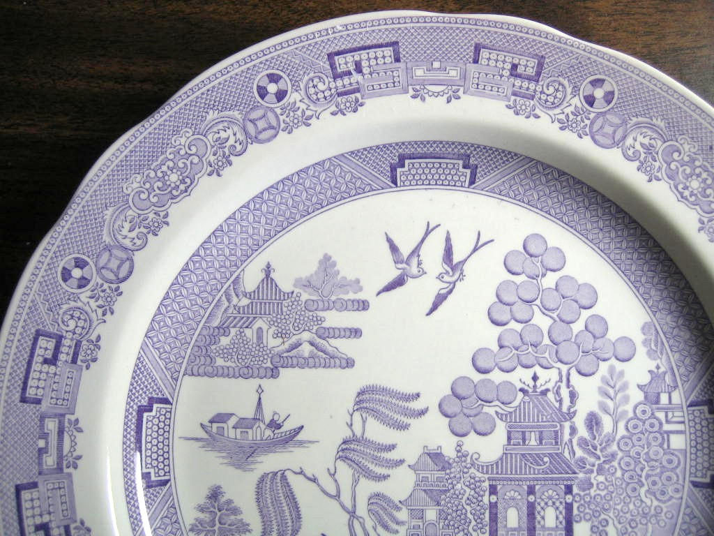 Lavender Purple Chinoiserie Exotic Bird Willow Plate Edge www.DecorativeDishes.net