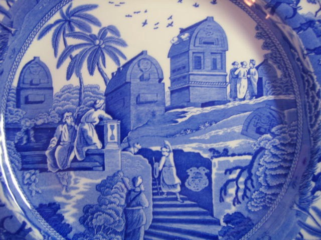 Blue Toile Transferware Exotic Animals Palm Temple Plate Center www.DecorativeDishes.net