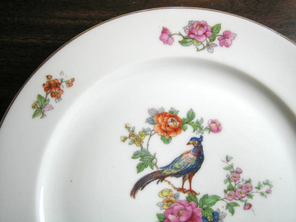 Vintage European Chinoiserie Exotic Bird Roses Large Decorative Plate Edge www.DecorativeDishes.net