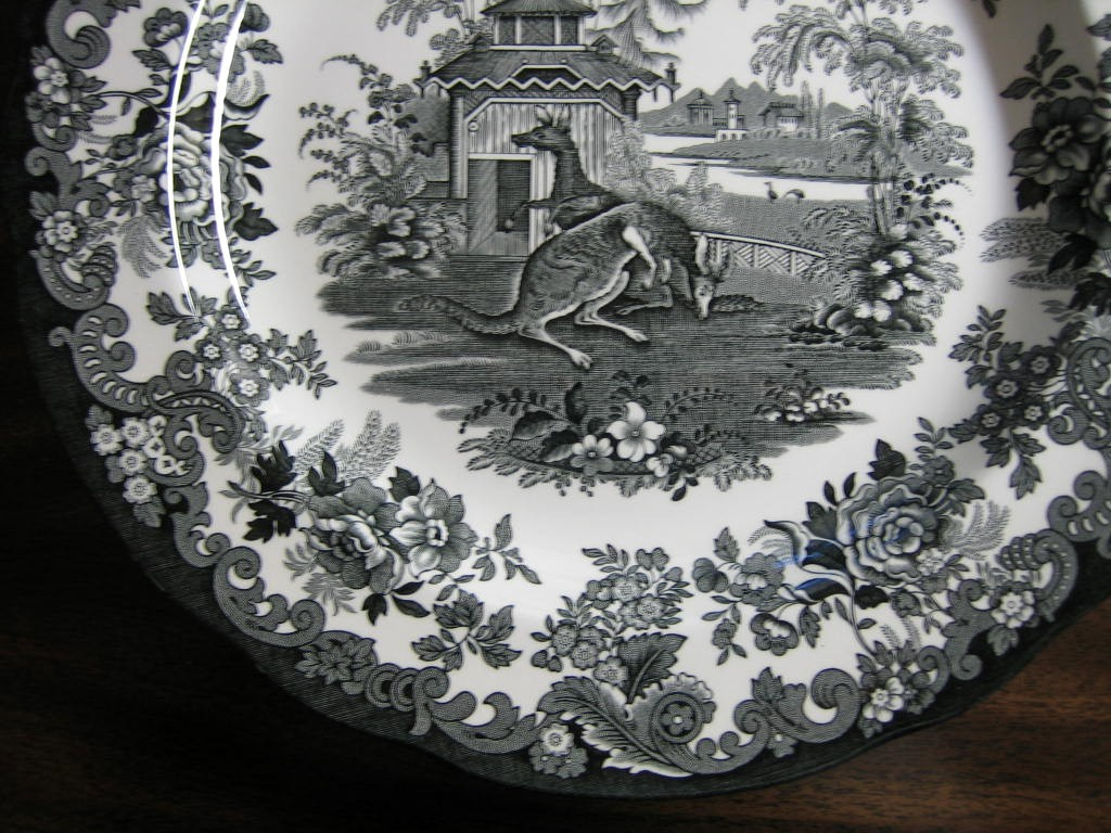 Black White Transferware Toile Victorian Zoo Kangaroo Plate Edge www.DecorativeDishes.net