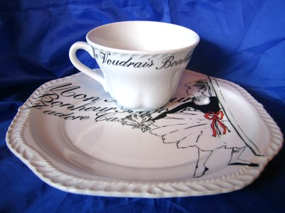 Vintage Rosanna Ballerina Black White French Script Plate & Cup Set Edge www.DecorativeDishes.net