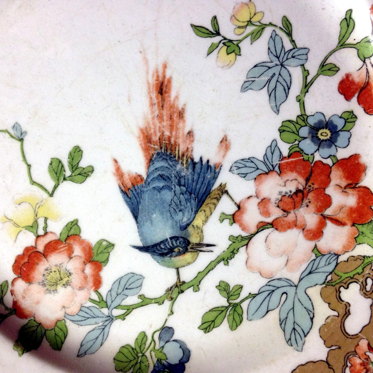 Antique 1912 Chinoiserie Shabby English Bird Floral Plate Center www.DecorativeDishes.net