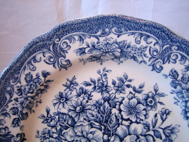 Blue White Toile Transferware Rose Vintage Plate L Edge www.DecorativeDishes.net