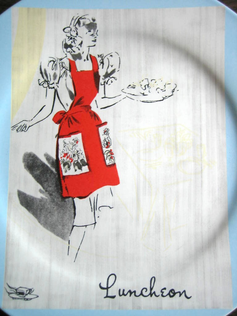 Retro Luncheon Hostess Apron Blue Retired Rosanna Plate Center www.DecorativeDishes.net