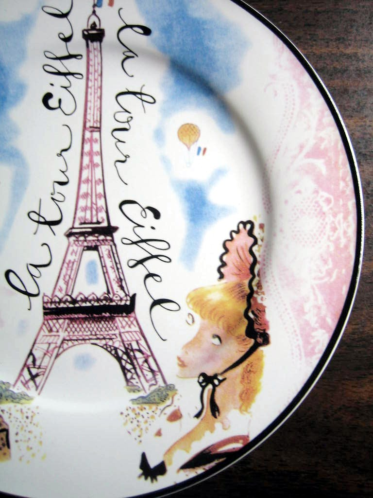 Vintage Whimsical Rosanna Eiffel Tower Pink Lace Ladies Plate Edge www.DecorativeDishes.net