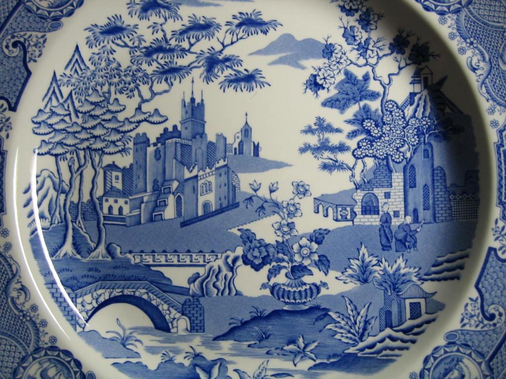 Blue White Transferware Chinoiserie Exotic Asian Castle Garden Plate Center www.DecorativeDishes.net