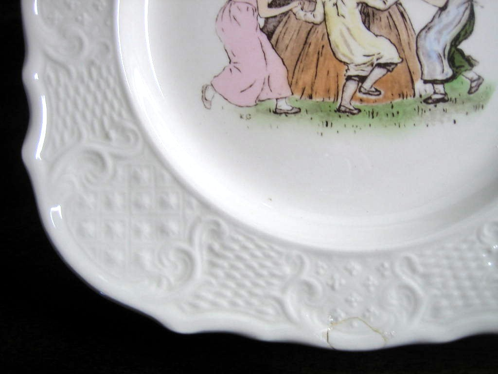 Vintage USA Girls Dancing Square Scroll Edge Plate Edge www.DecorativeDishes.net