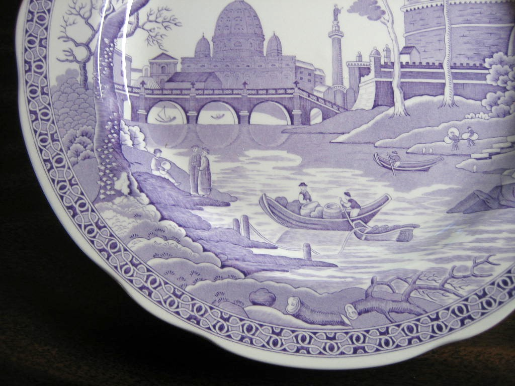 Lavender Purple Toile Transferware Exotic Palm River Temple Plate Edge www.DecorativeDishes.net