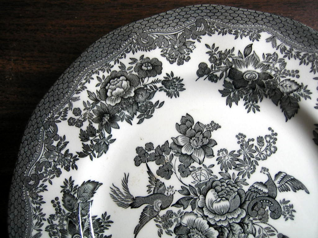 Black Toile Rose Exotic Bird Chinoiserie Paris Plate Medium Edge www.DecorativeDishes.net