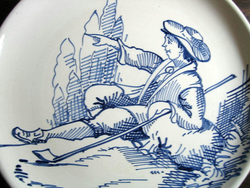 Blue Hand Drawn Shepherd Made in Italy Plate Ethan Allen Center www.DecorativeDishes.net