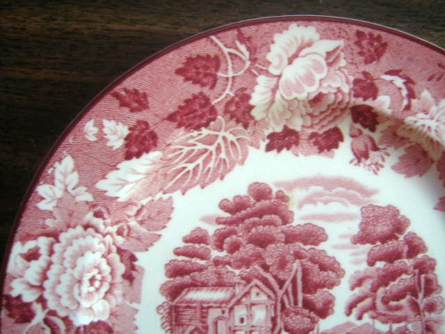 Red Pink Toile Cottage Peddler Donkey Plate S Edge www.DecorativeDishes.net