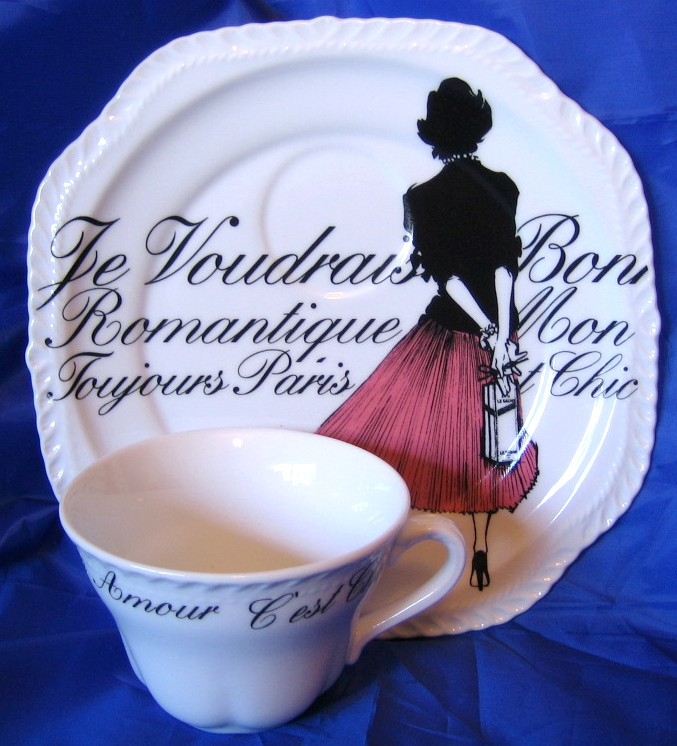 Vintage Rosanna Pink Skirt Girl Black White French Script Plate & Cup Set Center www.DecorativeDishes.net