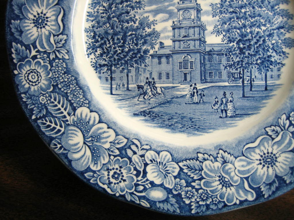 Cobalt Blue Toile Transferware Horse Couples Children Colonial Plate Edge www.DecorativeDishes.net