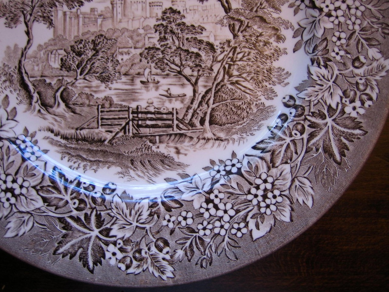 Brown Taupe Toile Transferware Girl Hat Bridge Vintage Plate Edge www.DecorativeDishes.net