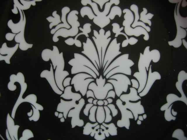 White on Black Damask Exotic Wallpaper Scroll Decorative Plate A Center www.DecorativeDishes.net