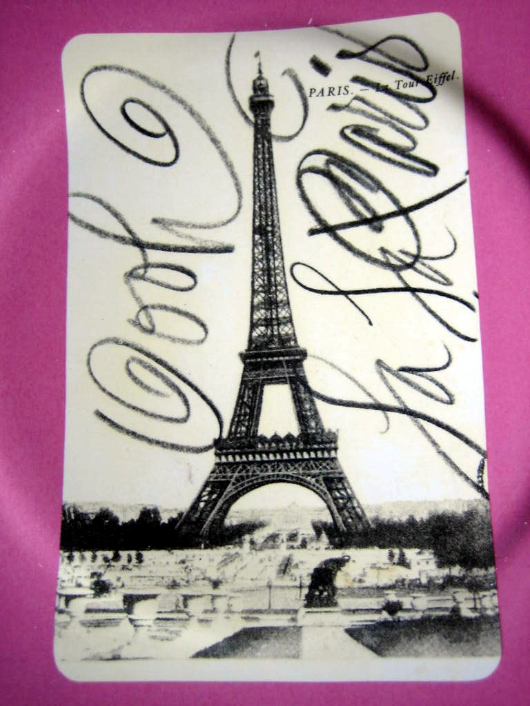 Vintage Paris Eiffel Tower Postcard Pink Plate Script Rosanna Center www.DecorativeDishes.net
