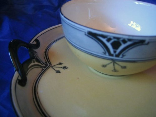 OLD! Yellow Black Art Deco Bone China Snack Set Edge www.DecorativeDishes.net