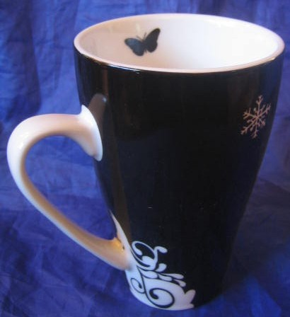 White on Black Silhouette Cameo Owl King Bird Magical Mug