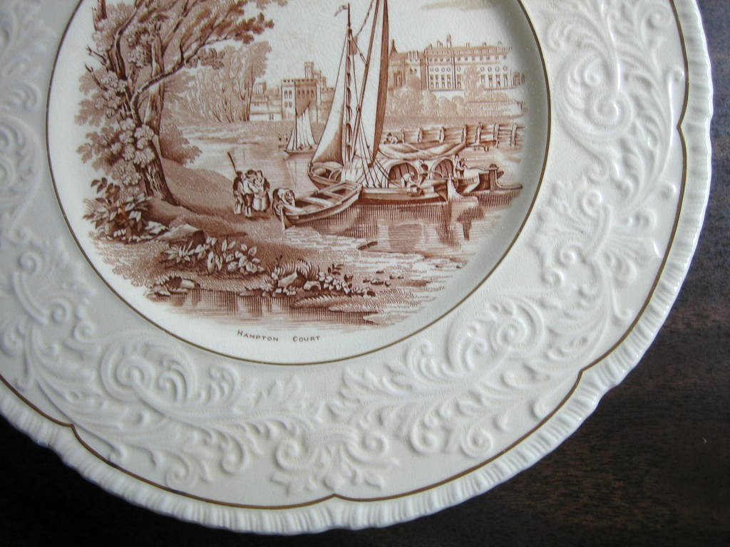 OLD Brown Toile Transferware River Boat Raised Scroll Gold Edge ...