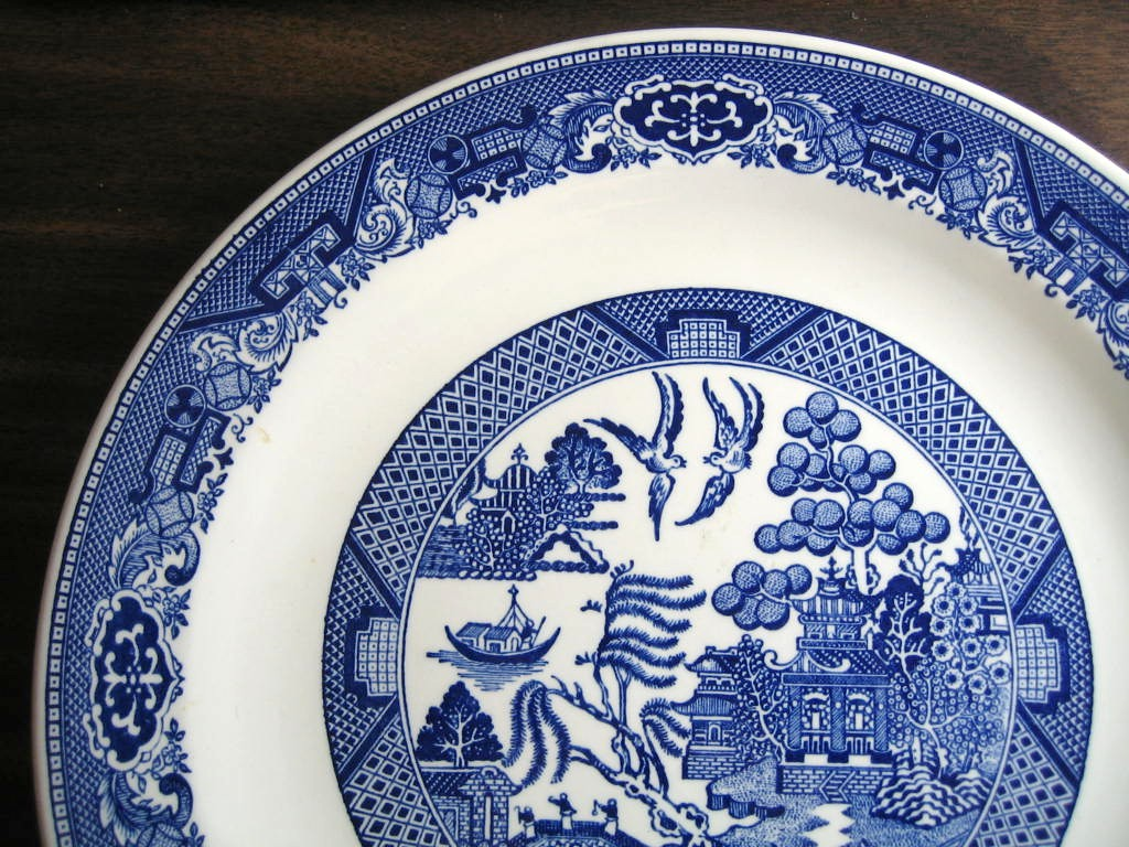 Decorative Charger Plate - Blue White Chinoiserie Exotic Birds USA Vintage  Edge www.DecorativeDishes.