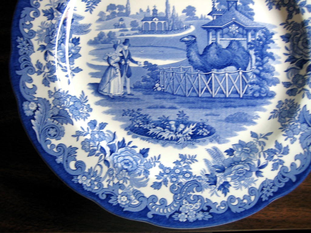 Blue White Transferware Toile Victorian Couple Zoo Camel Plate Edge www.DecorativeDishes.net