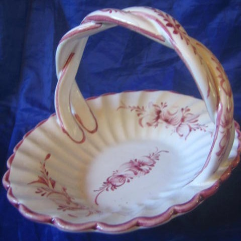 Sweet Lavender White Twisted Handle Ceramic Basket Center www.DecorativeDishes.net