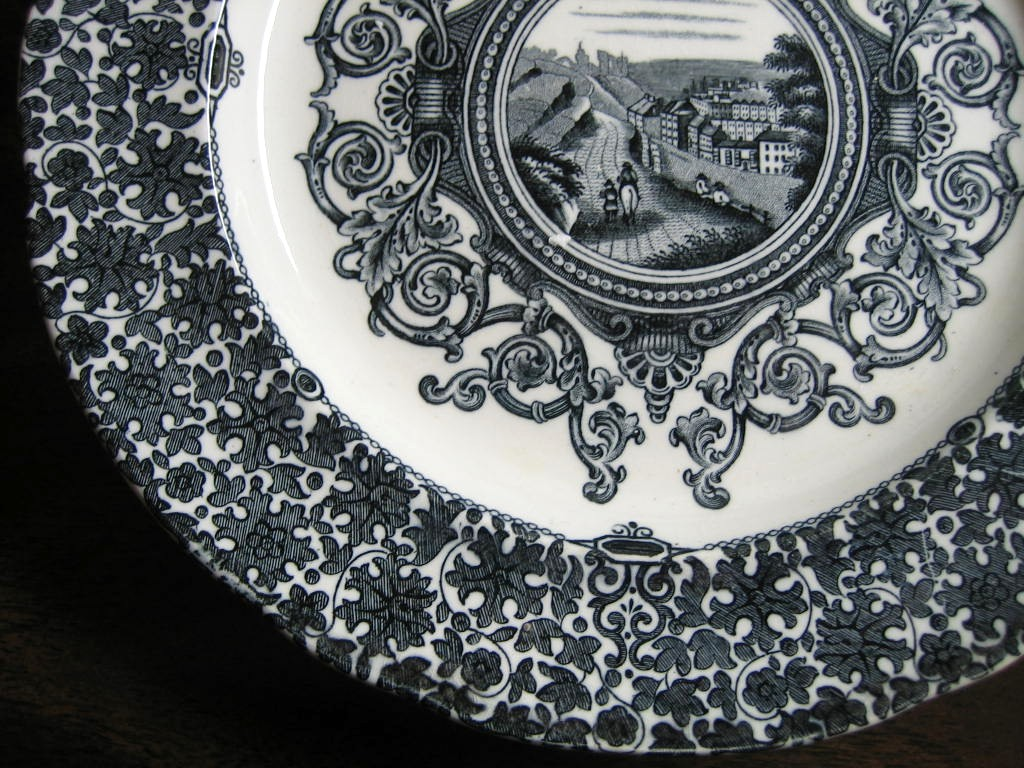 Antique Black Transferware Scroll Horseman Road Village Small Plate Center www.DecorativeDishes.net