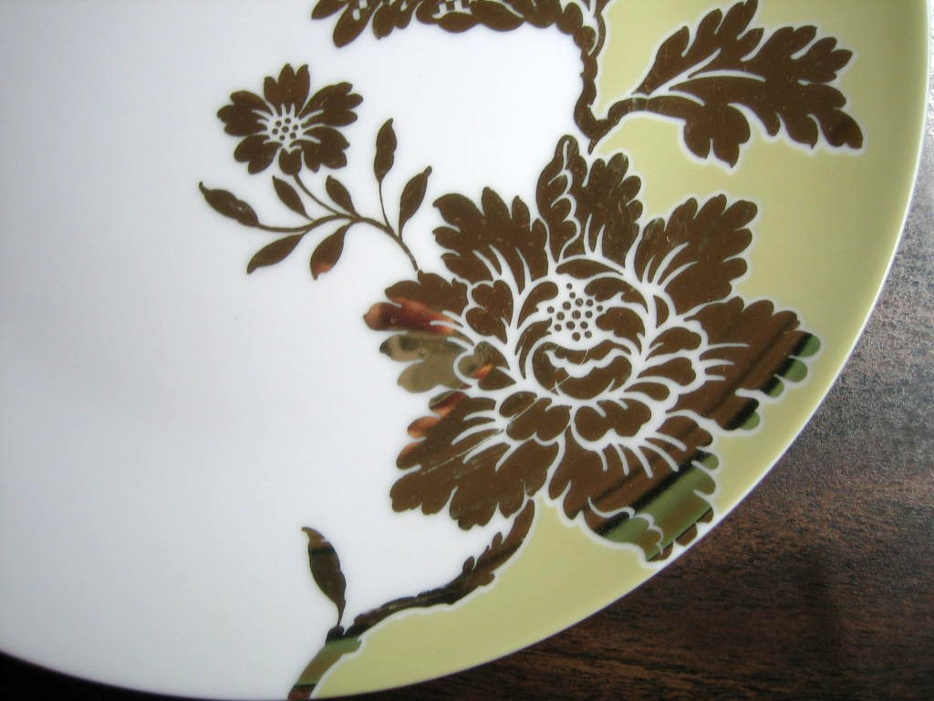 White Green Shiny Gold Floral Leaves Damask Shabby Plate Edge www.DecorativeDishes.net