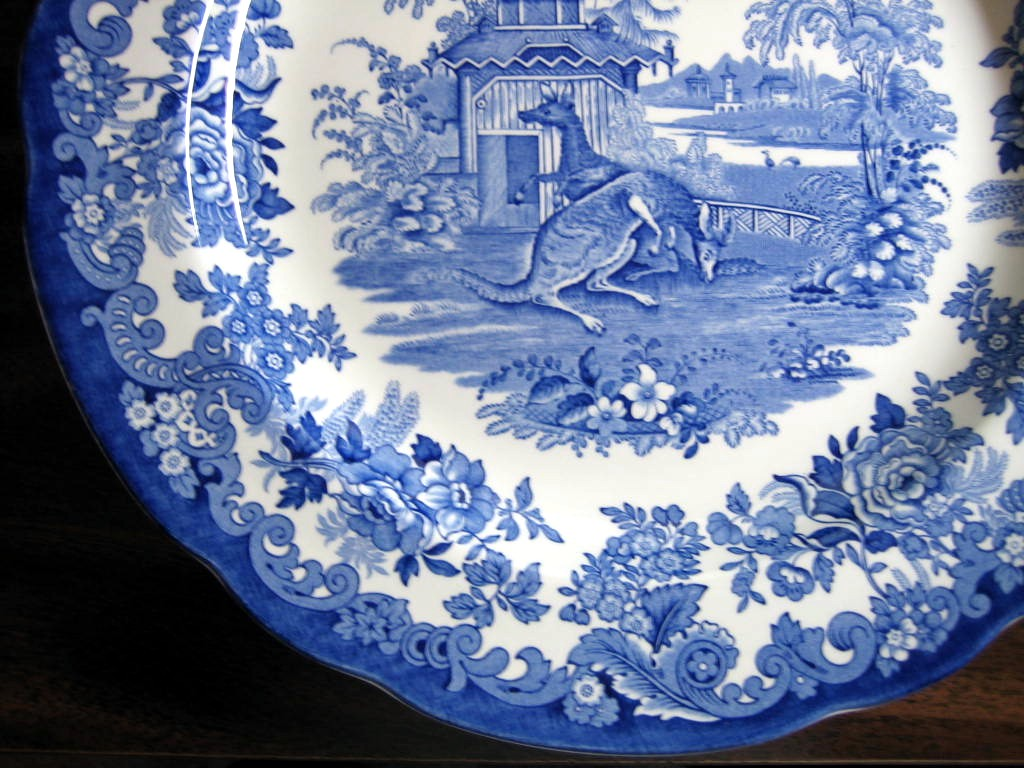 Blue White Transferware Toile Victorian Zoo Kangaroo Plate Edge www.DecorativeDishes.net
