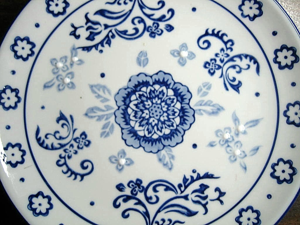 Cobalt Blue Exotic Chinoiserie Medallion Scroll Flower Edge Plate Center www.DecorativeDishes.net